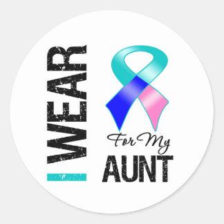 I Wear Thyroid Cancer Ribbon For My Aunt Round Sticker