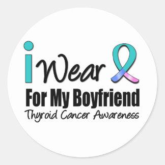 I Wear Thyroid Cancer Ribbon For My Boyfriend Round Stickers