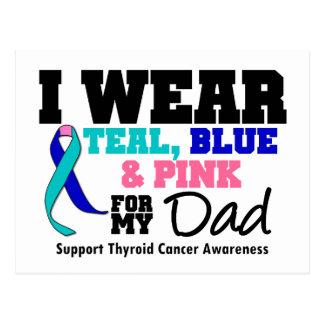 I Wear Thyroid Cancer Ribbon For My Dad Postcard