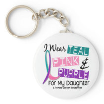 I Wear Thyroid Cancer Ribbon For My Daughter 37 Keychain