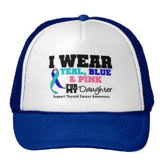 I Wear Thyroid Cancer Ribbon For My Daughter Mesh Hat