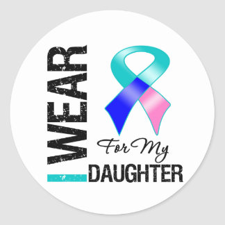 I Wear Thyroid Cancer Ribbon For My Daughter Sticker