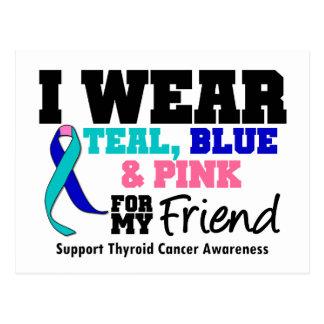 I Wear Thyroid Cancer Ribbon For My Friend Postcard