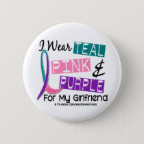 I Wear Thyroid Cancer Ribbon For My Girlfriend 37 Button