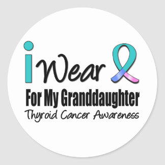I Wear Thyroid Cancer Ribbon For My Granddaughter Stickers