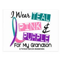 I Wear Thyroid Cancer Ribbon For My Grandson 37 Postcard