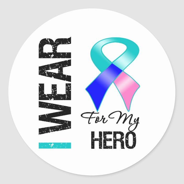 I Wear Thyroid Cancer Ribbon For My Hero Classic Round Sticker Zazzle Com