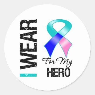 I Wear Thyroid Cancer Ribbon For My Hero Round Sticker