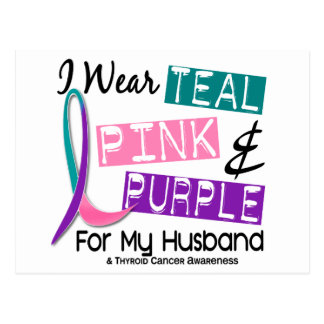 I Wear Thyroid Cancer Ribbon For My Husband 37 Postcard