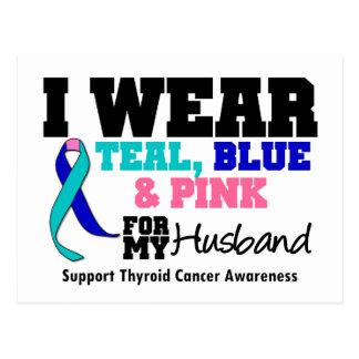 I Wear Thyroid Cancer Ribbon For My Husband Postcard