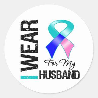 I Wear Thyroid Cancer Ribbon For My Husband Sticker