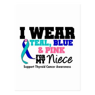 I Wear Thyroid Cancer Ribbon For My Niece Postcard