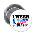 I Wear Thyroid Cancer Ribbon For My Sister Pinback Button