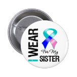 I Wear Thyroid Cancer Ribbon For My Sister Button