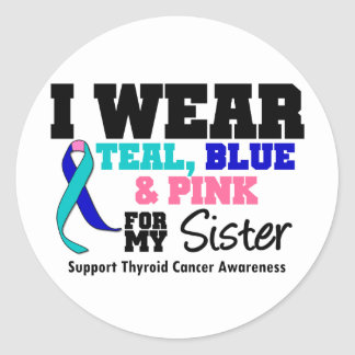 I Wear Thyroid Cancer Ribbon For My Sister Classic Round Sticker