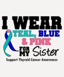 I Wear Thyroid Cancer Ribbon For My Sister T-shirts