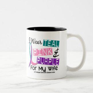 I Wear Thyroid Cancer Ribbon For My Wife 37 Two-Tone Coffee Mug