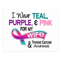 I Wear Thyroid Cancer Ribbon For My Wife Postcard