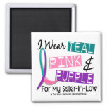 I Wear Thyroid Cancer Ribbon For Sister-In-Law 37 2 Inch Square Magnet