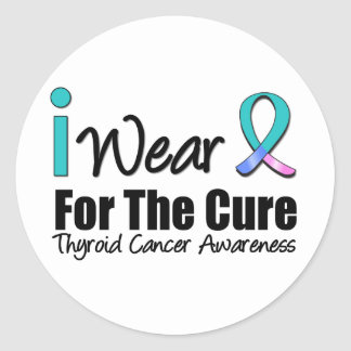 I Wear Thyroid Cancer Ribbon For The Cure Round Stickers