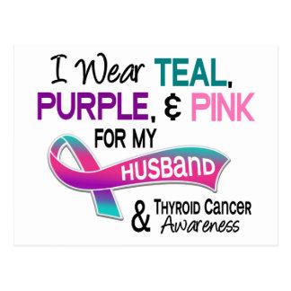 I Wear Thyroid Ribbon For My Husband Postcard