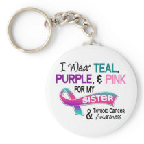 I Wear Thyroid Ribbon For My Sister Keychain