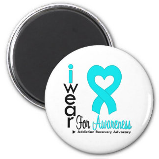 I Wear Turquoise Ribbon - Addiction Recovery 2 Inch Round Magnet