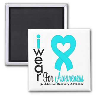 I Wear Turquoise Ribbon - Addiction Recovery 2 Inch Square Magnet