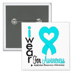 I Wear Turquoise Ribbon - Addiction Recovery Button
