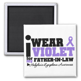 I Wear Violet Father-in-Law Hodgkins Lymphoma 2 Inch Square Magnet