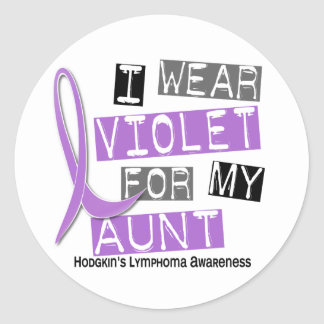 I Wear Violet For My Aunt 37 Hodgkin's Lymphoma Round Stickers