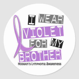 I Wear Violet For My Brother 37 Hodgkin's Lymphoma Round Stickers