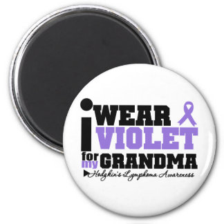I Wear Violet For My Grandma Hodgkins Lymphoma 2 Inch Round Magnet