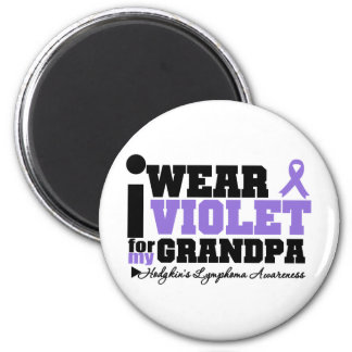 I Wear Violet For My Grandpa Hodgkins Lymphoma 2 Inch Round Magnet