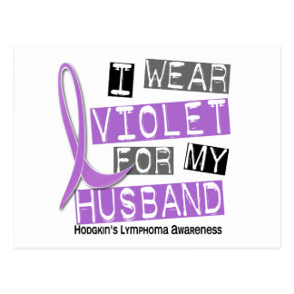 I Wear Violet For My Husband 37 Hodgkin's Lymphoma Postcard