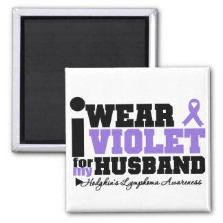 I Wear Violet For My Husband Hodgkins Lymphoma 2 Inch Square Magnet