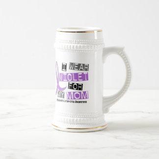I Wear Violet For My Mom 37 Hodgkin's Lymphoma 18 Oz Beer Stein