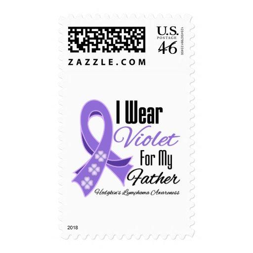 I Wear Violet Hodgkin's Lymphoma Father Postage Stamp