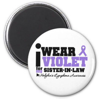 I Wear Violet Sister-in-Law Hodgkins Lymphoma 2 Inch Round Magnet