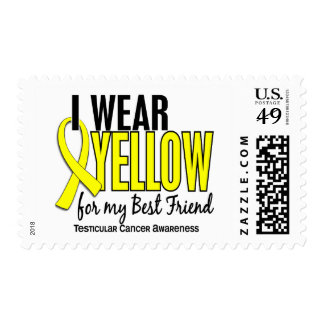 I Wear Yellow Best Friend 10 Testicular Cancer Postage Stamps