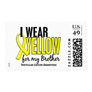 I Wear Yellow Brother 10 Testicular Cancer Postage Stamps