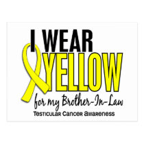 I Wear Yellow Brother-In-Law 10 Testicular Cancer Postcard