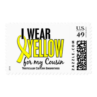 I Wear Yellow Cousin 10 Testicular Cancer Postage Stamps