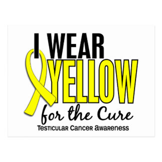 I Wear Yellow Cure 10 Testicular Cancer Postcard