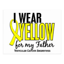 I Wear Yellow Father 10 Testicular Cancer Postcard