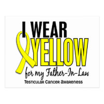 I Wear Yellow Father-In-Law 10 Testicular Cancer Postcard