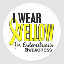 I Wear Yellow For Awareness 10 Endometriosis Classic Round Sticker