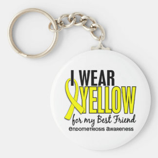 I Wear Yellow For My Best Friend 10 Endometriosis Basic Round Button Keychain