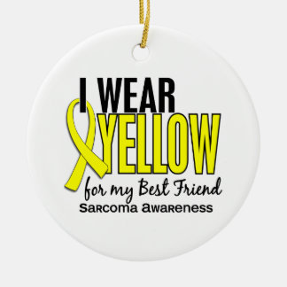 I Wear Yellow For My Best Friend 10 Sarcoma Double-Sided Ceramic Round Christmas Ornament