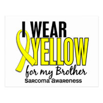 I Wear Yellow For My Brother 10 Sarcoma Postcard